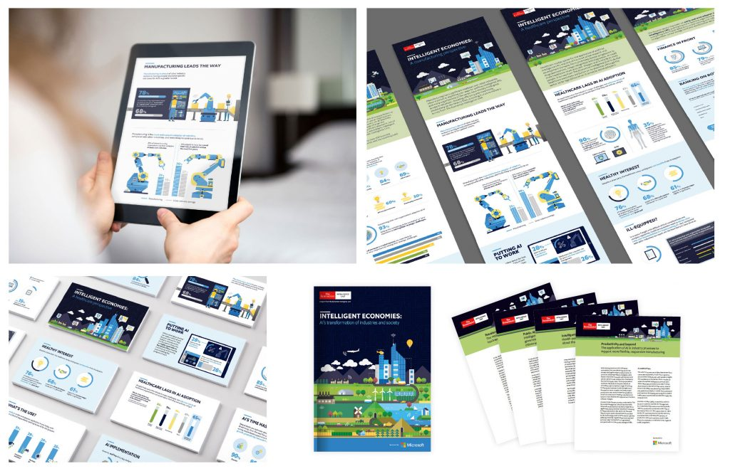 Thought leadership campaign design reports infographics social cards